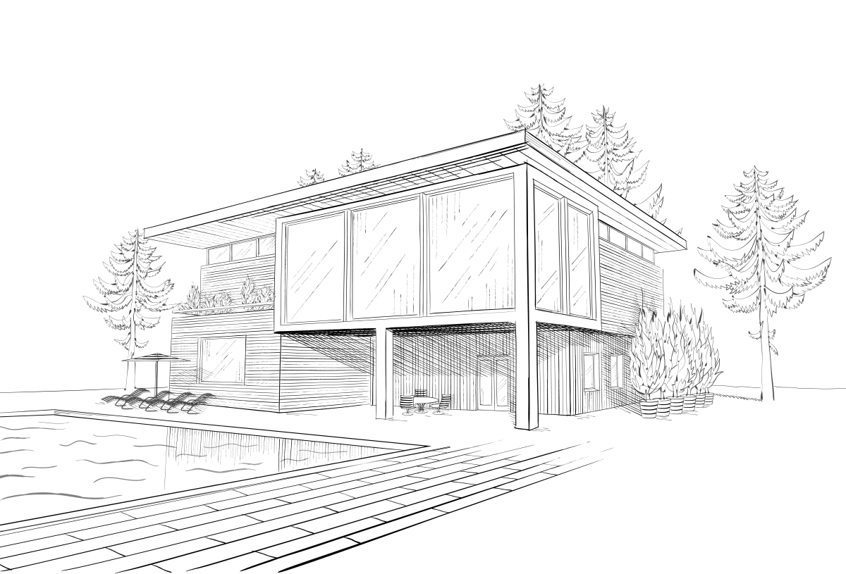 prix pritzker - un dessin d'architecte d'une maison